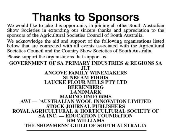 SA Country Show Sponsors